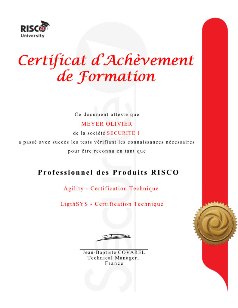 SECURITE 1 certifié RISCO Agility & LightSYS